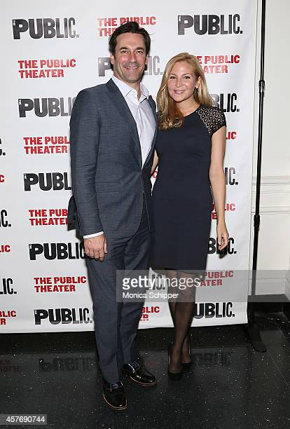 Actors Jon Hamm and Jennifer Westfeldt attend The Public Theater's Opening Night Celebration Of The Fortress Of Solitude Opening Night at The Public...