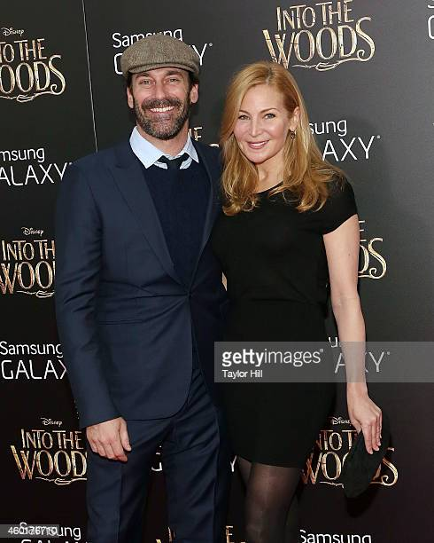 Actors Jon Hamm and Jennifer Westfeldt attend the world premiere of 'Into the Woods' at Ziegfeld Theater on December 8 2014 in New York City
