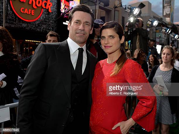 Actors Jon Hamm and Lake Bell attend the premiere of Disney's 'Million Dollar Arm' at the El Capitan Theatre on May 6 2014 in Hollywood California