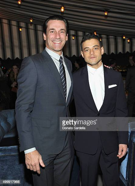Actors Jon Hamm and Rami Malek attend GQ And Dior Homme Private Dinner In Celebration Of GQ's 20th Anniversary Men Of The Year Party at Chateau...