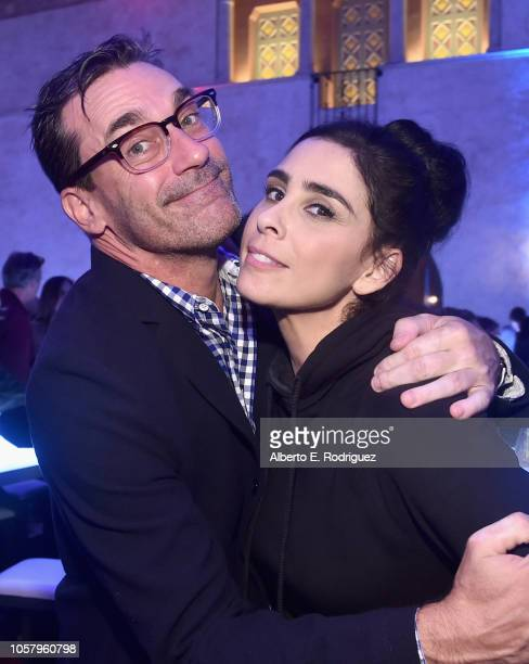 Actors Jon Hamm and Sarah Silverman attend the World Premiere of Disney's RALPH BREAKS THE INTERNET at the El Capitan Theatre on November 5 2018 in...