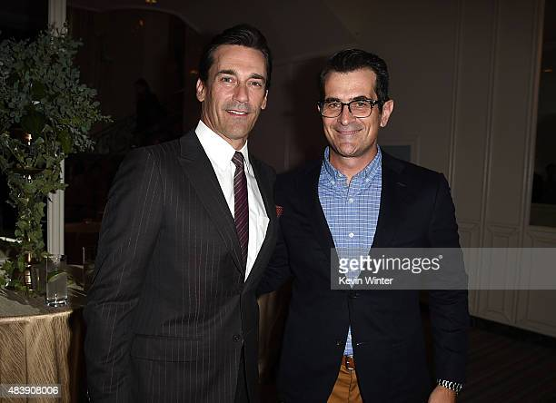 Actors Jon Hamm and Ty Burrell attend HFPA Annual Grants Banquet at the Beverly Wilshire Four Seasons Hotel on August 13 2015 in Beverly Hills...