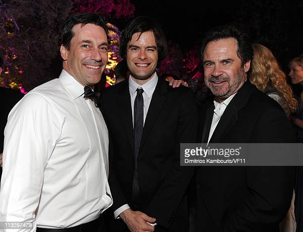 Actors Jon Hamm Bill Hader and Dennis Miller attend the Bloomberg Vanity Fair cocktail reception following the 2011 White House Correspondents'...