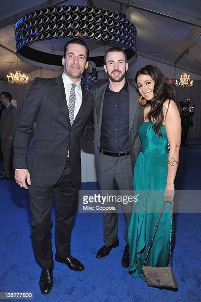 Actors Jon Hamm Chris Evans and Emmanuelle Chriqui attend NFL Honors in the Pepsi Blue Room at Murat Theatre on February 4 2012 in Indianapolis...