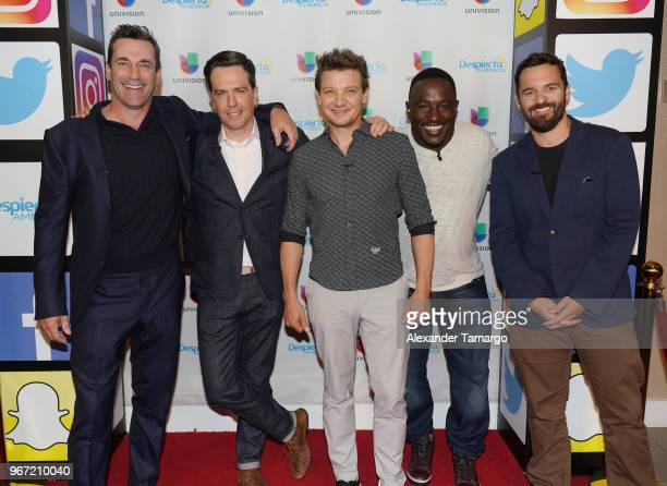 Actors Jon Hamm Ed Helms Jeremy Renner Hannibal Buress and Jake Johnson are seen on the set of 'Despierta America' at Univision Studios to promote...