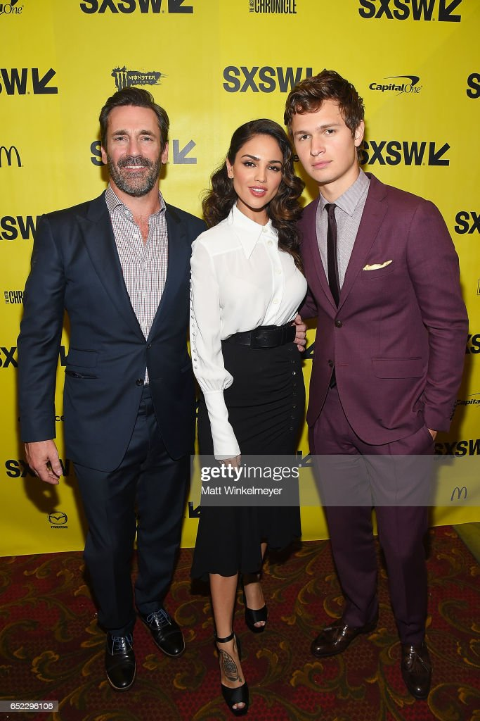 Actors Jon Hamm, Eiza Gonzalez, and Ansel Elgort attend the 'Baby Driver' premiere 2017 SXSW Conference and Festivals on March 11, 2017 in Austin, Texas.