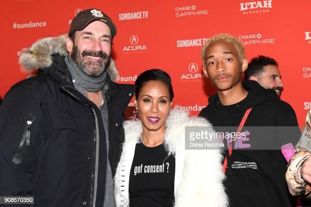 Actors Jon Hamm Jaden Smith and Jada Pinkett Smith attend the 'Skate Kitchen' Premiere during 2018 Sundance Film Festival at Park City Library on...