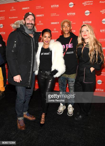 Actors Jon Hamm Jaden Smith Jada Pinkett Smith and director Crystal Moselle attend the 'Skate Kitchen' Premiere during 2018 Sundance Film Festival at...