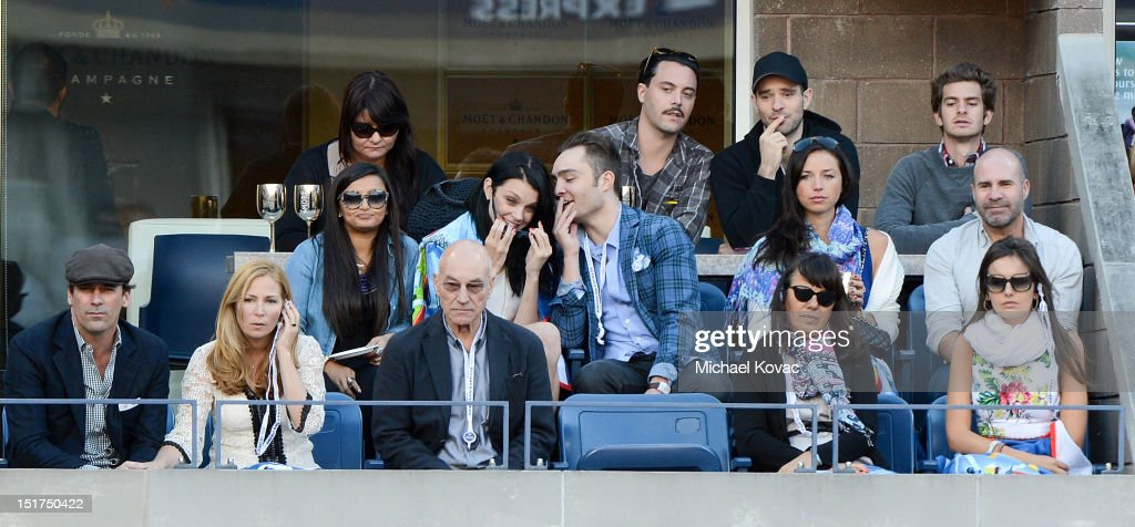 Actors Jon Hamm, Jennifer Westfeldt, Patrick Stewart, guest, Camilla Belle, (2nd row L-R) guest, model Jessica Stam, actor Ed Westwick, Ashley Porter, director Scott Burns, (3rd row L-R) Actors Jack Huston, Charlie Cox, and Andrew Garfield visit the Moet & Chandon Suite at the 2012 US Open at the USTA Billie Jean King National Tennis Center on September 10, 2012 in the Flushing neighborhood of the Queens borough of New York City.