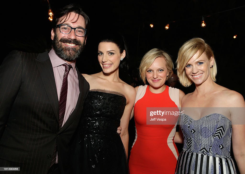 Actors Jon Hamm, Jessica Paré, Elisabeth Moss and January Jones attend Vanity Fair and Maybelline toast to 'Mad Men' at Chateau Marmont on September 20, 2013 in Los Angeles, California.