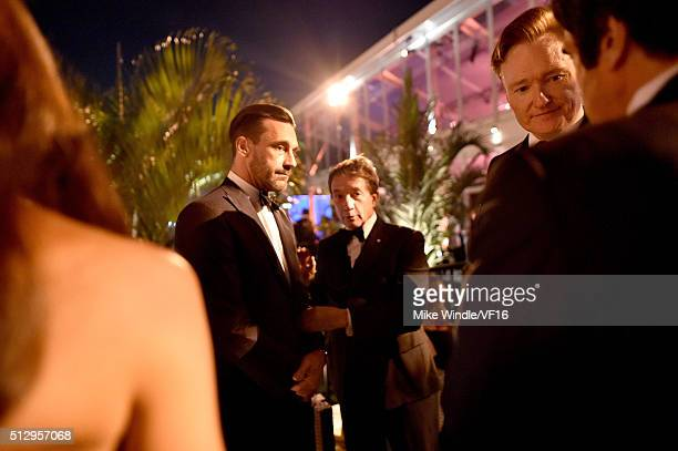 Actors Jon Hamm Martin Short and TV personality Conan O'Brien attend the 2016 Vanity Fair Oscar Party Hosted By Graydon Carter at the Wallis...