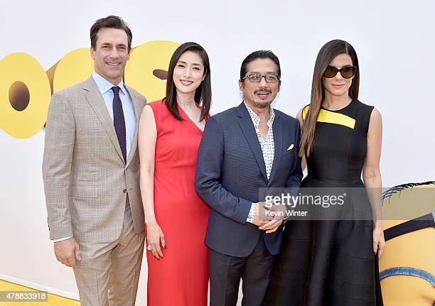 Actors Jon Hamm Yuli Amami Hiroyuki Sanada and Sandra Bullock arrive at the premiere of Universal Pictures and Illumination Entertainment's 'Minions'...