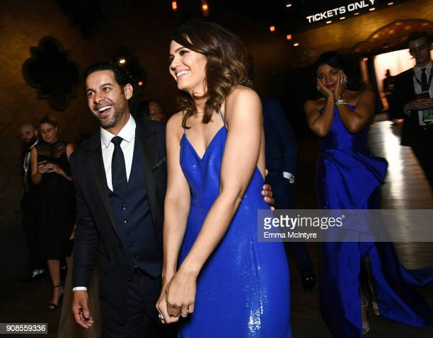 Actors Jon Huertas Mandy Moore and Susan Kelechi Watson attend the 24th Annual Screen Actors Guild Awards at The Shrine Auditorium on January 21 2018...