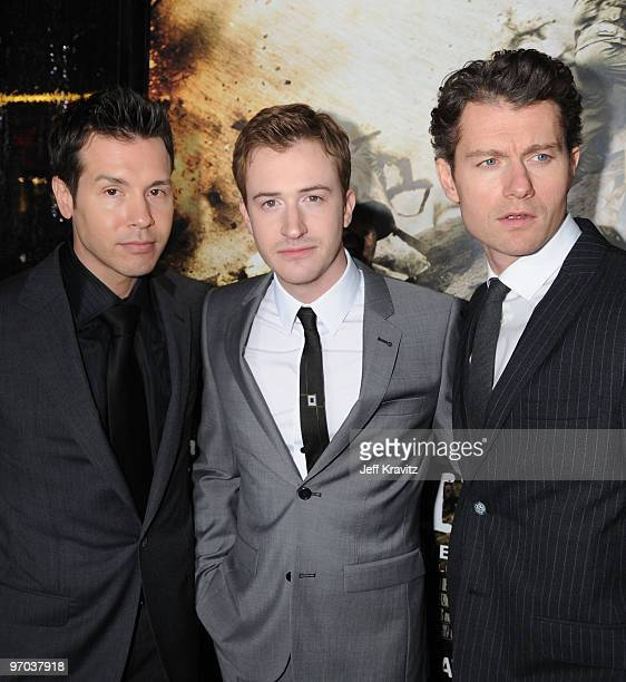 Actors Jon Seda Joseph Mazzello and James Badge Dale arrive at HBO's premiere of The Pacific held at Grauman's Chinese Theatre on February 24 2010 in...