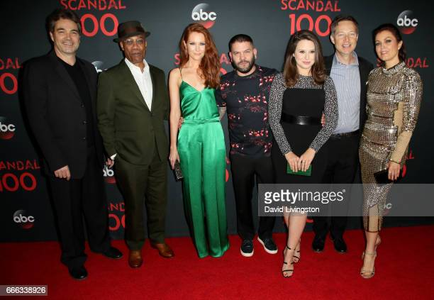 Actors Jon Tenney Joe Morton Darby Stanchfield Guillermo Diaz Katie Lowes George Newbern and Bellamy Young attend ABC's Scandal 100th Episode...