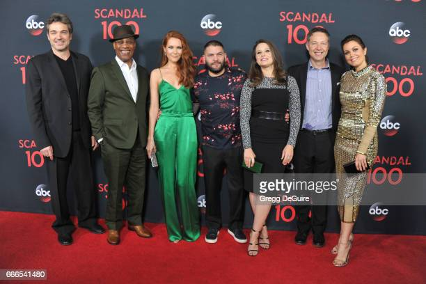 Actors Jon Tenney Joe Morton Darby Stanchfield Guillermo Diaz Katie Lowes George Newbern and Bellamy Young arrive at ABC's 'Scandal' 100th Episode...