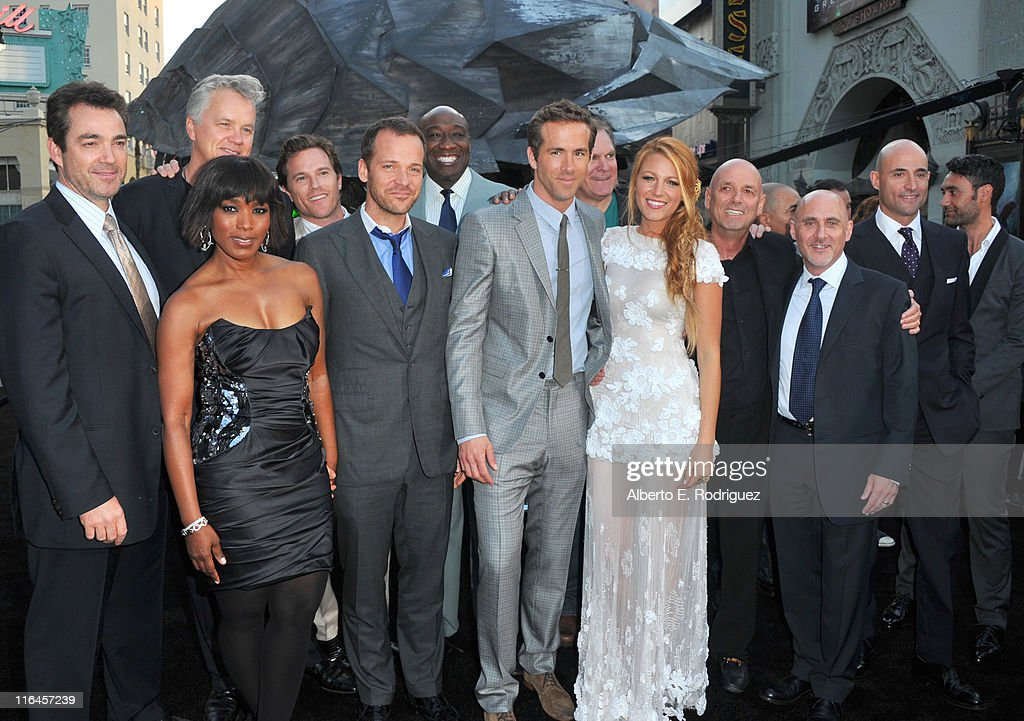 Actors Jon Tenney, Tim Robbins, Angela Bassett, Peter Sarsgaard, Michael Clark Duncan, Ryan Reynolds, Jay O. Sanders, Blacke Lively, director Matthew Campbell, President of Warner Brothers Pictures Group Jeff Robinov and actors Mark Strong and Taika Waititi arrive at the premiere of Warner Bros. Pictures' 'Green Lantern' held at Grauman's Chinese Theatre on June 15, 2011 in Hollywood, California.