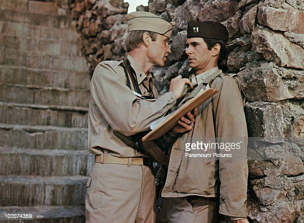Actors Jon Voight and Anthony Perkins star in the film 'Catch22' 1970