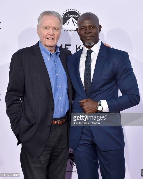 Actors Jon Voight and Djimon Hounsou arrive at the premiere of 'Same Kind of Different as Me' at Westwood Village Theatre on October 12, 2017 in...