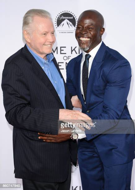 """Actors Jon Voight and Djimon Hounsou attend the premiere of """"Same Kind of Different as Me"""" at Westwood Village Theatre on October 12, 2017 in..."""