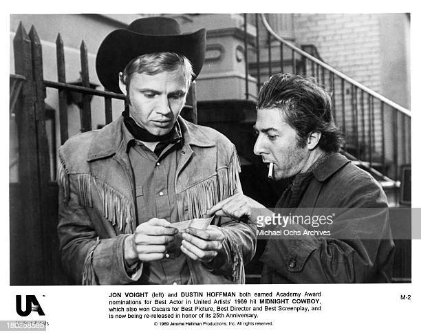 Actors Jon Voight and Dustin Hoffman on the set of United Artists movie Midnight Cowboy in 1969