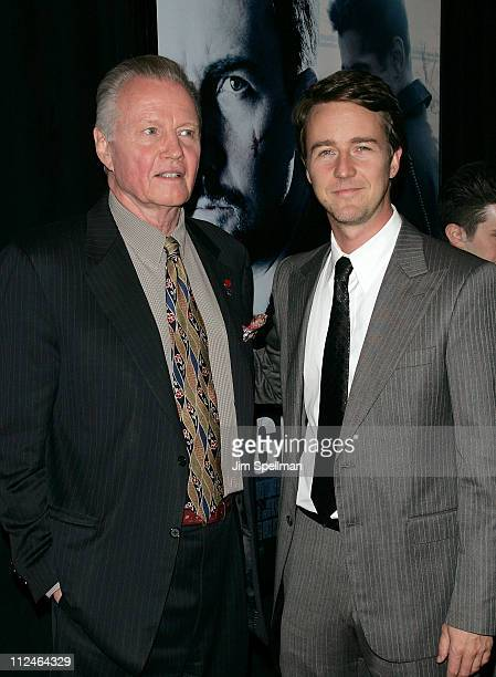 Actors Jon Voight and Edward Norton attend the Premiere for Pride and Glory at AMC Loews lincoln Square 13 on October 15 2008 in New York City