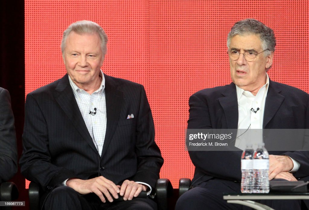 Actors Jon Voight and Elliott Gould of 'Ray Donovan' speak onstage during the Showtime portion of the 2013 Winter TCA Tour at Langham Hotel on January 12, 2013 in Pasadena, California.