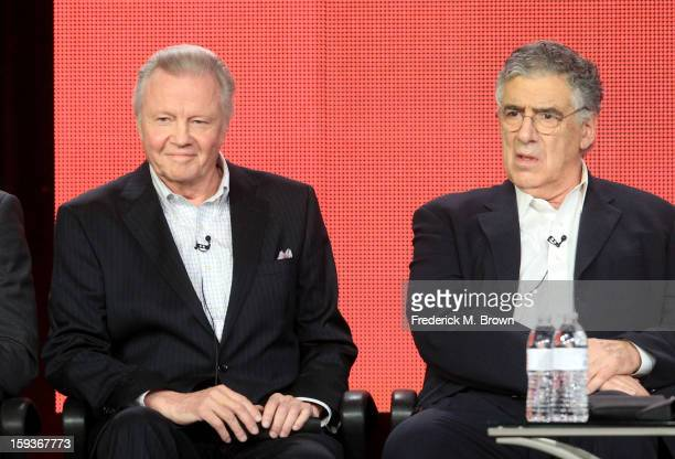 Actors Jon Voight and Elliott Gould of Ray Donovan speak onstage during the Showtime portion of the 2013 Winter TCA Tour at Langham Hotel on January...