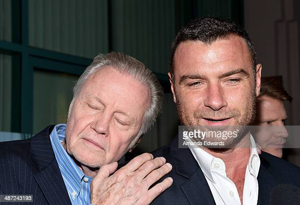 Actors Jon Voight and Liev Schreiber arrive at Showtime's Ray Donovan special screening and panel discussion at the Leonard H Goldenson Theatre on...