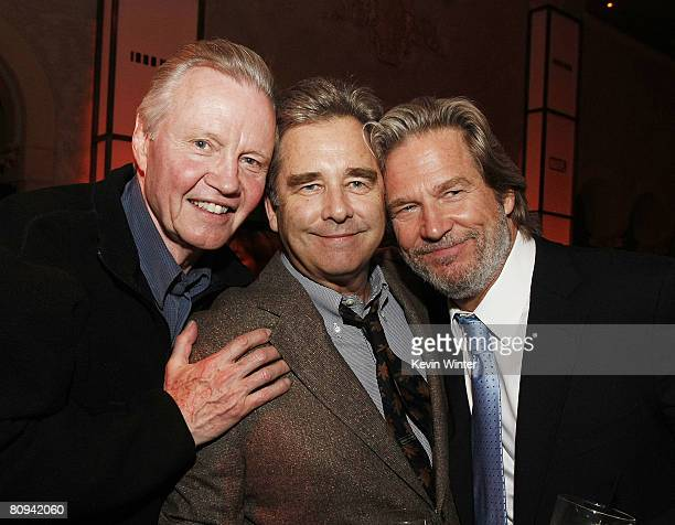 "Actors Jon Voight , Beau Bridges and Jeff Bridges pose at the afterparty for the premiere of Paramount's ""Iron Man"" at the Roosevelt Hotel on April..."