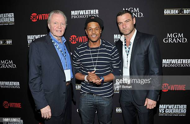 Actors Jon Voight Pooch Hall and Liev Schreiber arrive at a VIP prefight party at the WBC welterweight title fight between Floyd Mayweather Jr and...
