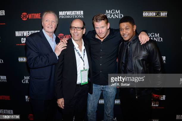 Actors Jon Voight Showtime CEO Matt Blank Dash Mihok and Pooch Hall arrive at the Floyd Mayweather Jr vs Canelo Alvarez boxing match at the MGM Grand...