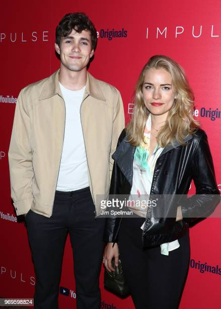 Actors Jonah HauerKing and Willa Fitzgerald attend the screening of Impulse hosted by YouTube at The Roxy Cinema on June 7 2018 in New York City