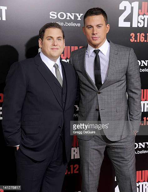 Actors Jonah Hill and Channing Tatum arrive at '21 Jump Street' Los Angeles Premiere at Grauman's Chinese Theatre on March 13 2012 in Hollywood...