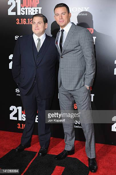 Actors Jonah Hill and Channing Tatum arrive at the Los Angeles Premiere '21 Jumpstreet' at Grauman's Chinese Theatre on March 13 2012 in Hollywood...