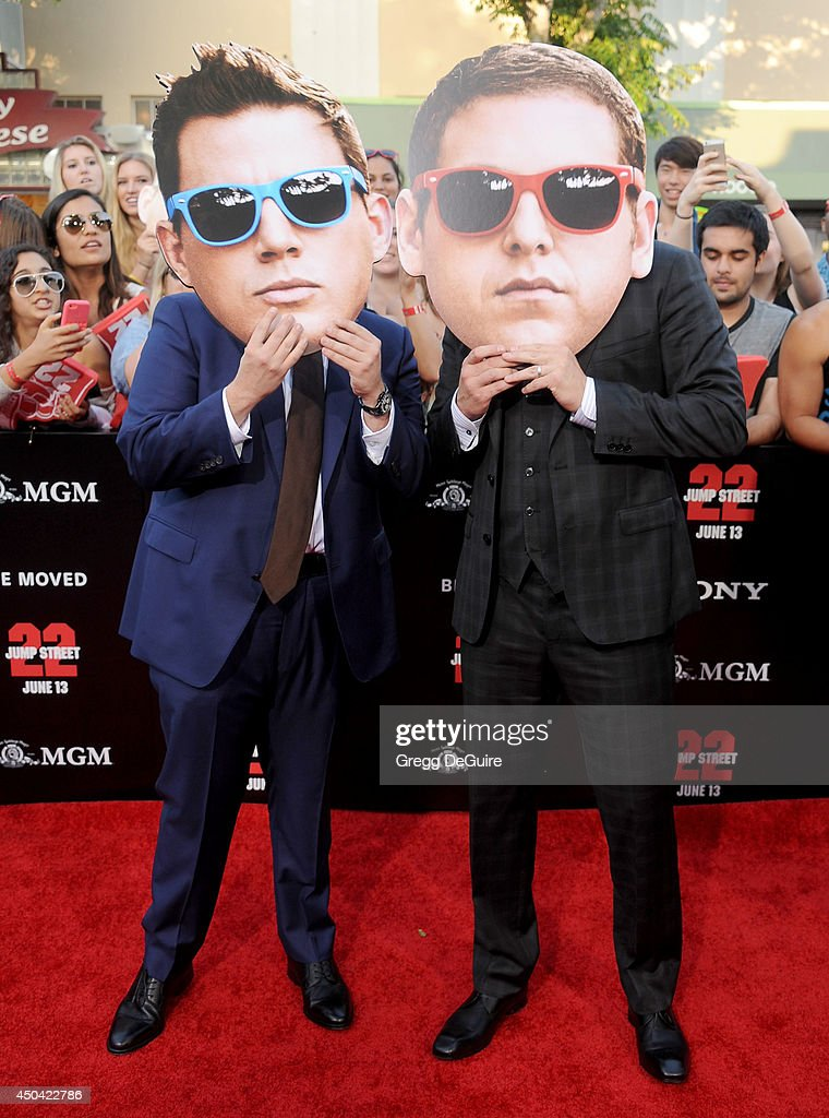 Actors Jonah Hill and Channing Tatum arrive at the Los Angeles premiere of '22 Jump Street' at Regency Village Theatre on June 10, 2014 in Westwood, California.