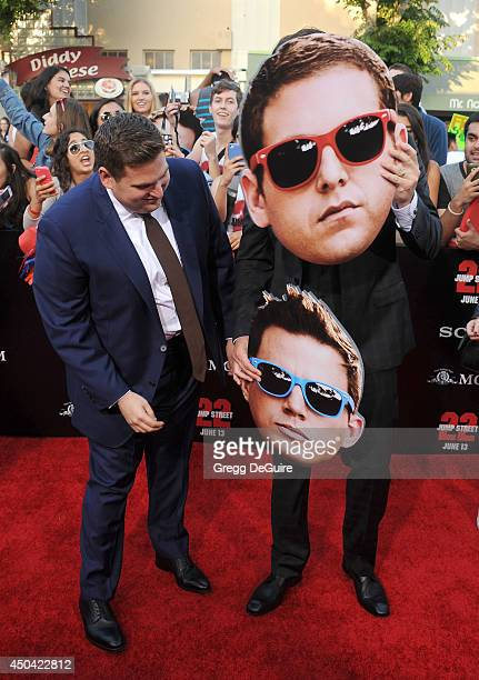Actors Jonah Hill and Channing Tatum arrive at the Los Angeles premiere of 22 Jump Street at Regency Village Theatre on June 10 2014 in Westwood...