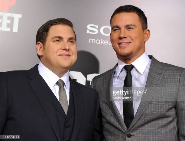 Actors Jonah Hill and Channing Tatum arrive at the premiere of Columbia Pictures' '21 Jump Street' at Grauman's Chinese Theatre on March 13 2012 in...
