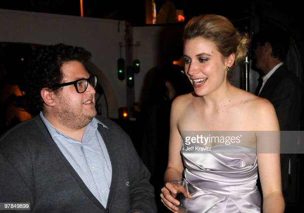 Actors Jonah Hill and Greta Gerwig attend the after party for the premiere of 'Greenberg' presented by Focus Features at La Vida on March 18 2010 in...