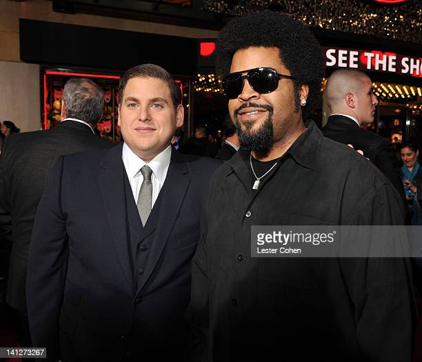Actors Jonah Hill and Ice Cube arrive at the Los Angeles premiere of '21 Jump Street' at Grauman's Chinese Theatre on March 13 2012 in Hollywood...