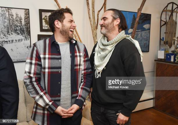 Actors Jonah Hill and Joaquin Pheonix of the film 'Don't Worry He Won't Get Far on Foot' attend as Grey Goose Blue Door hosts the casts of...