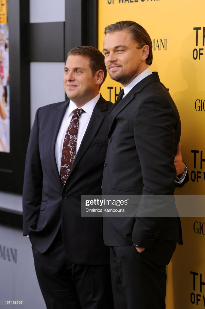 Actors Jonah Hill and Leonardo DiCaprio attend the 'The Wolf Of Wall Street' premiere at the Ziegfeld Theatre on December 17, 2013 in New York City.