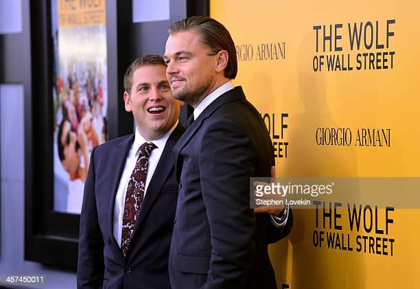 "Actors Jonah Hill and Leonardo DiCaprio attends Giorgio Armani Presents: ""The Wolf Of Wall Street"" world premiere at the Ziegfeld Theatre on December..."