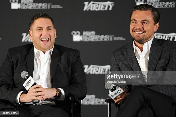 Actors Jonah Hill and Leonardo DiCaprio speak at the 2014 Variety Screening Series of 'The Wolf of Wall Street' at ArcLight Hollywood on February 10...