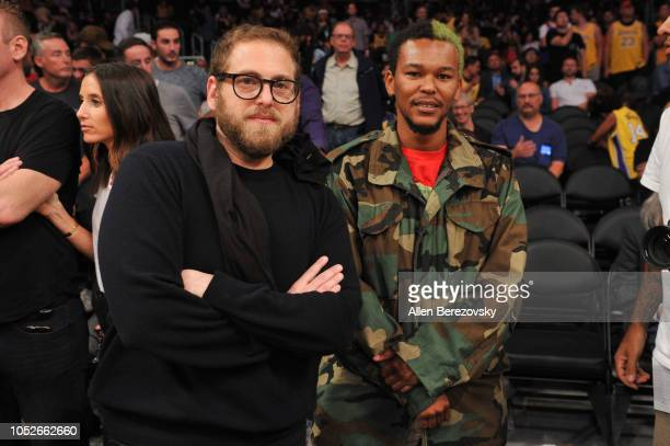 Actors Jonah Hill and Nakel Smith attend a basketball game between the Los Angeles Lakers and the Houston Rockets at Staples Center on October 20...