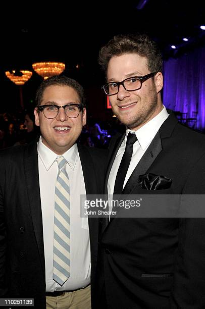 Actors Jonah Hill and Seth Rogen attend the 19th annual A Night At Sardi's fundraiser and awards dinner benefitting the Alzheimer's Association at...