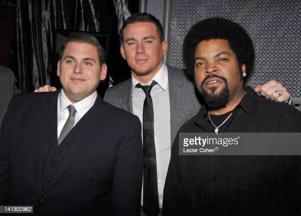 Actors Jonah Hill Channing Tatum and Ice Cube attend the after party for the Los Angeles premiere of '21 Jump Street' at Rolling Stone Restaurant...