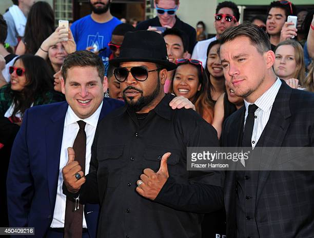 Actors Jonah Hill Ice Cube and Channing Tatum attend the Premiere Of Columbia Pictures' 22 Jump Street at Regency Village Theatre on June 10 2014 in...