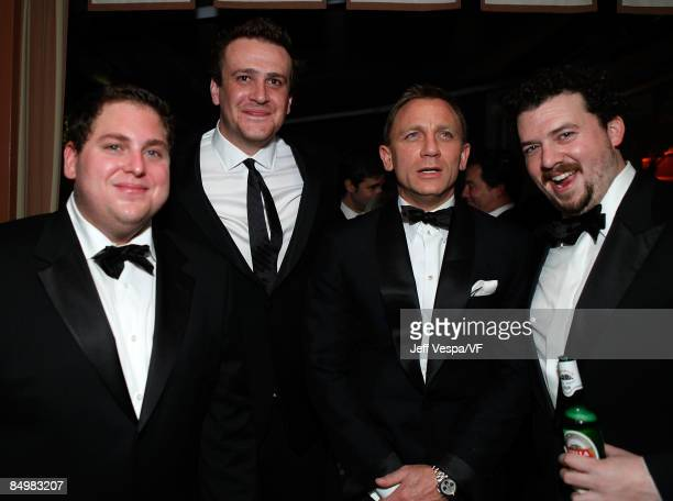 Actors Jonah Hill Jason Segel Daniel Craig and Danny McBride attend the 2009 Vanity Fair Oscar party hosted by Graydon Carter at the Sunset Tower...