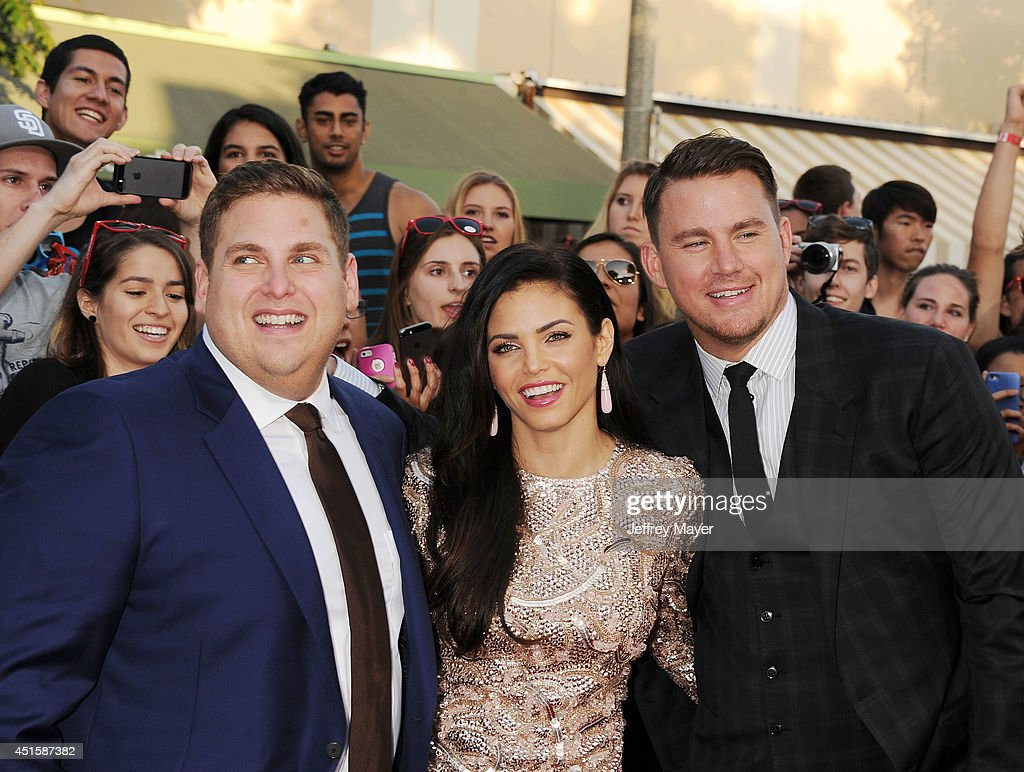 Actors Jonah Hill, Jenna Dewan-Tatum and Channing Tatum arrive at the Los Angeles premiere of '22 Jump Street' at Regency Village Theatre on June 10, 2014 in Westwood, California.